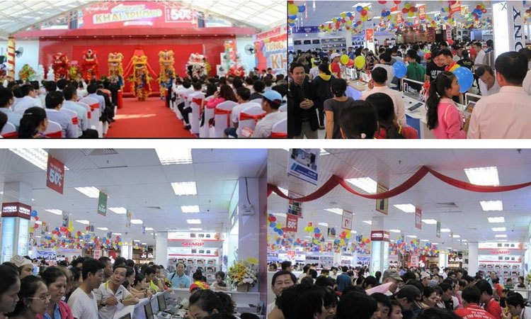 Trung tâm mua sắm Nguyễn Kim An Lạc tấp nập người đến tham quan, mua sắm