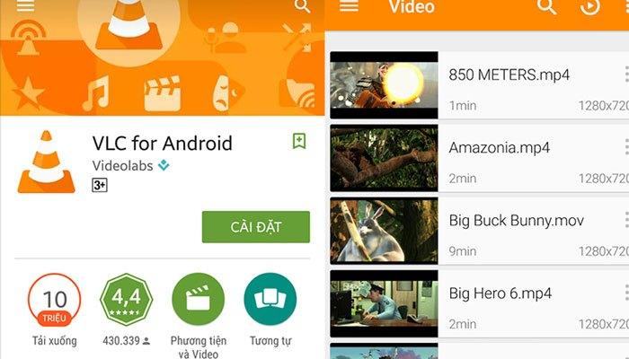 Phần mềm VLC được áp dụng trên điện thoại Android