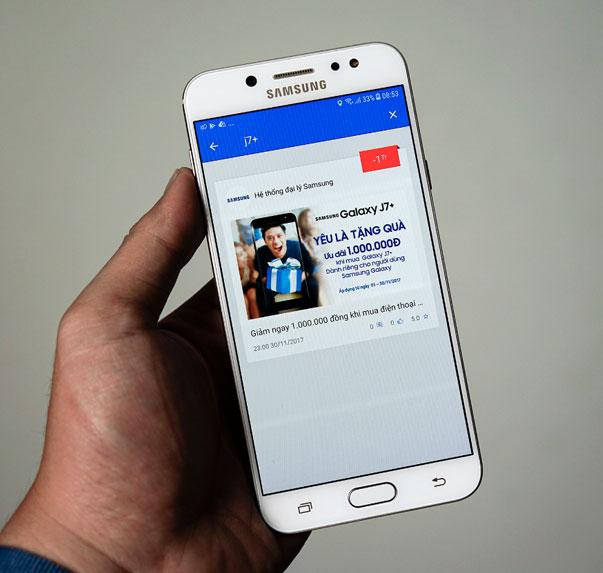 Lấy mã trên quà tặng Galaxy để được giảm ngay 1.000.000 VND khi mua Galaxy J7+ tại Nguyễn Kim