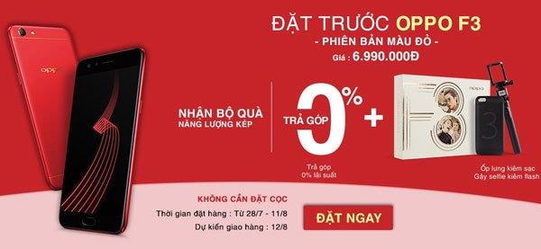 Bộ quà tặng hấp dẫn dành cho bạn khi đặt mua trước điện thoại OPPO F3 đỏ tại Nguyễn Kim
