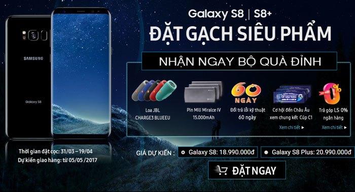 Đặt mua trước điện thoại Galaxy S8 và S8 Plus tại Nguyễn Kim bạn sẽ nhận được nhiều ưu đãi và quà tặng hấp dẫn