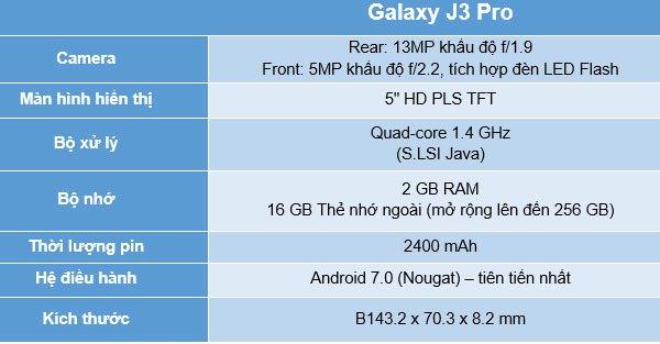 Thông số kỹ thuật của điện thoại Samsung Galaxy J3 Pro