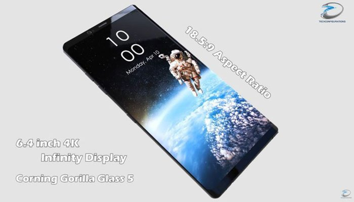 Màn hình điện thoại Galaxy Note 8 lên đến 6,4 inch