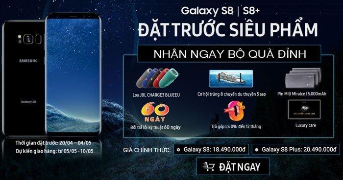 Đặt mua điện thoại Galaxy S8/S8 Plus nhận ngay quà đỉnh và ưu đãi hấp dẫn