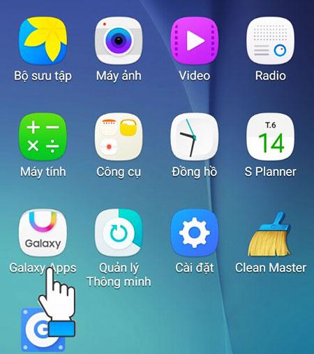 Trên điện thoại Samsung, bạn vào Menu rồi chọn Galaxy Apps.