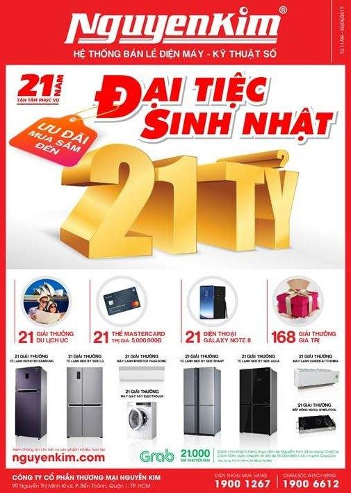 Đại tiệc sinh nhật Nguyễn Kim với nhiều ưu đãi cực hấp dẫn nhằm tri ân khách hàng