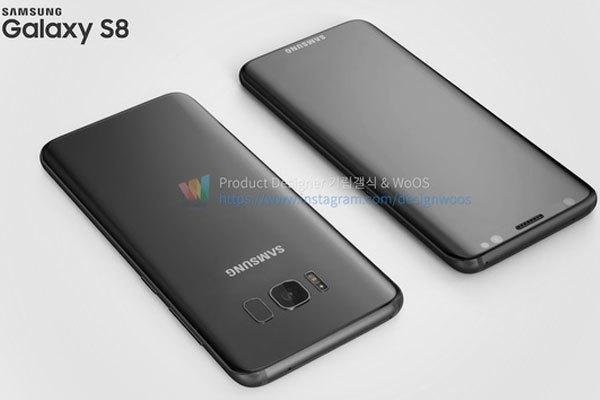Điện thoại Galaxy S8 có màn hình cong và viền mỏng hơn hẳn Galaxy S7 edge