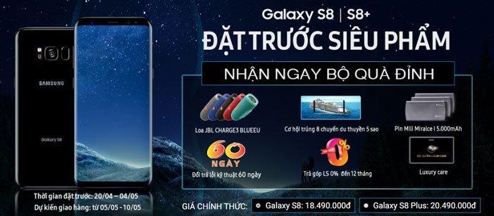 Đặt mua siêu phẩm Galaxy S8/S8 Plus nhận ngay quà đỉnh và ưu đãi hấp dẫn