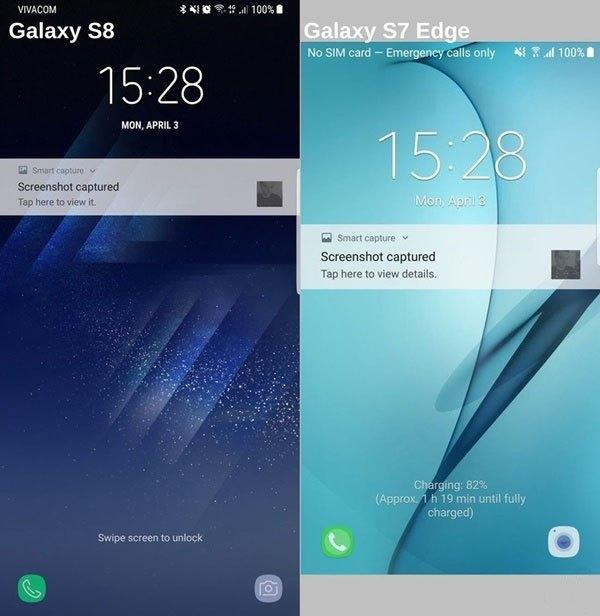 Màn hình khóa giữa điện thoại Galaxy S8 và S7 khá tương tự nhau