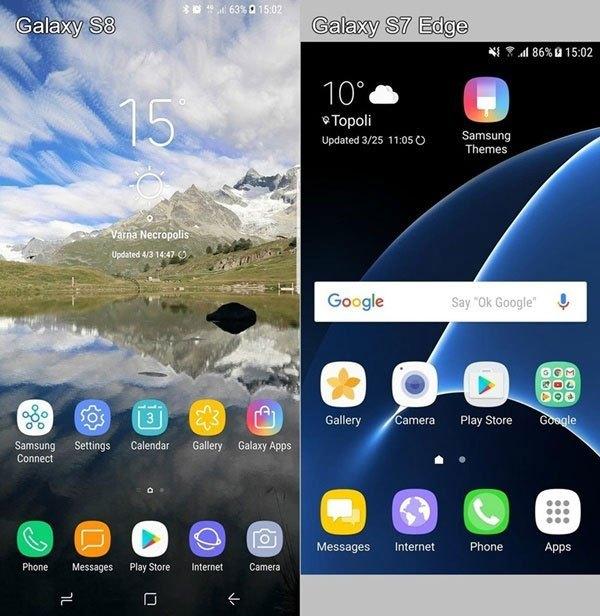 Icon trên điện thoại Galalxy S8 được thiết kế tinh tế và phẳng hơn