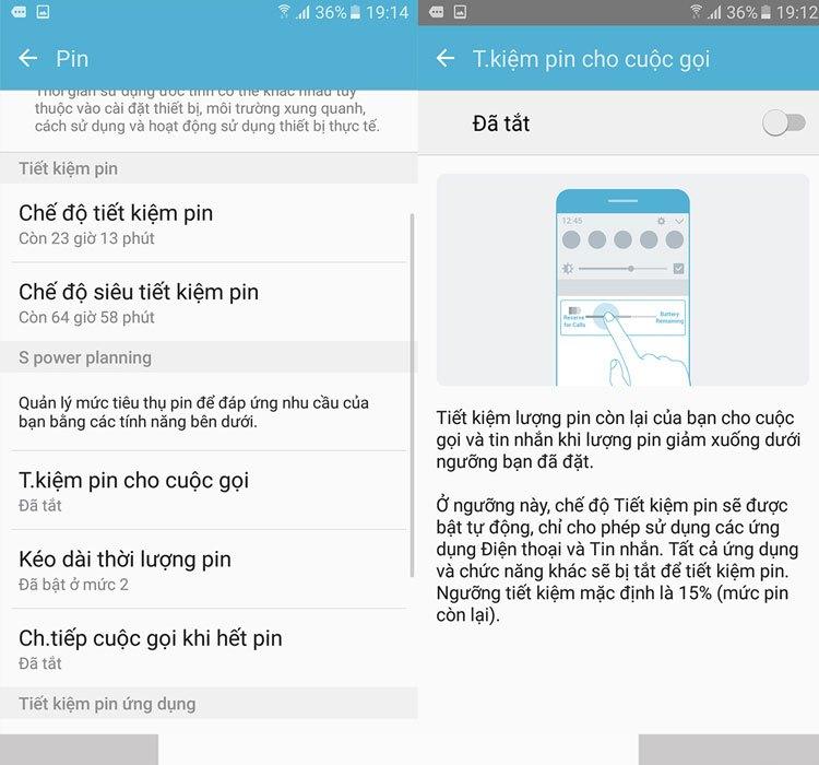 Tiết kiệm pin cuộc gọi của điện thoại Samung Galaxy J7 Prime chỉ hỗ trợ cho người dùng 2 tính năng là cuộc gọi và nhắn tin
