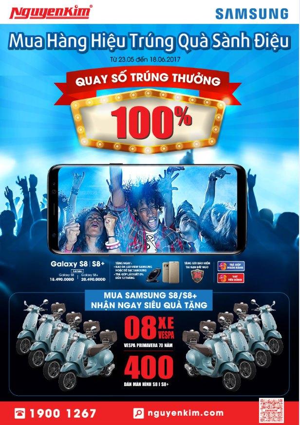 Mua điện thoại Samsung Galaxy S8/S8+ tại Nguyễn Kim, bạn sẽ nhận được các phần quà và ưu đãi hấp dẫn