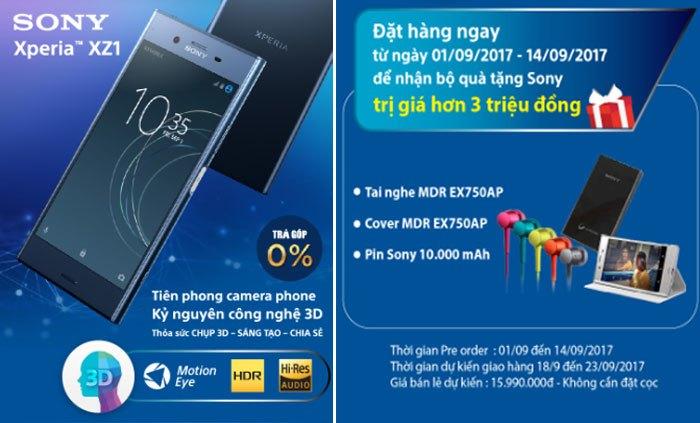 Đặt trước điện thoại Sony Xperia XZ1 không cần cọc lại được quà hơn 3.000.000 đồng