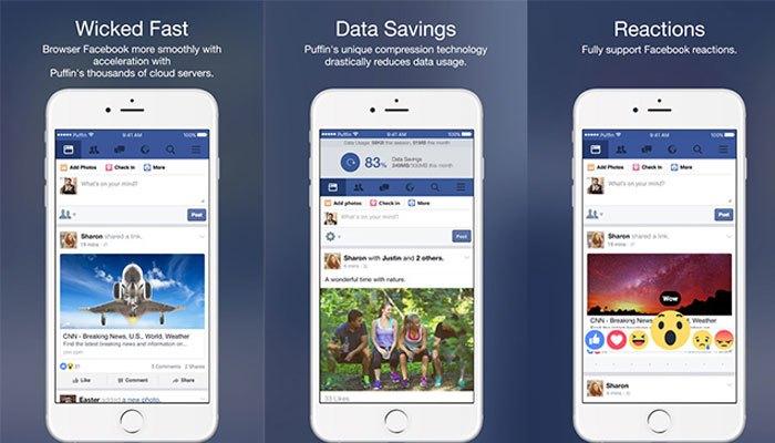 Sẽ không lo tốn dung lượng điện thoại khi dùng Puffin for Facebook