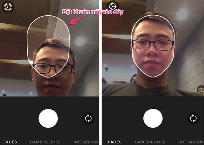 Đặt khuôn mặt khớp với khung hình của FaceApp để bắt đầu selfie