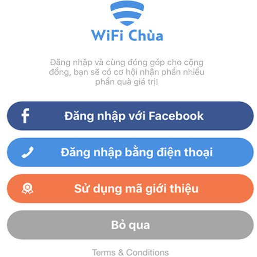 Bạn có thể bỏ qua phần yêu cầu đăng nhập bằng số điện thoại hay tài khoản Facebook khi ứng dụng yêu cầu. Nếu bạn có mã giới thiệu từ bạn bè hãy chọn ô Mã giới thiệu và nhập mã để nhận Kim Cương Chùa và tận hưởng những ưu đãi lớn từ WiFi Chùa