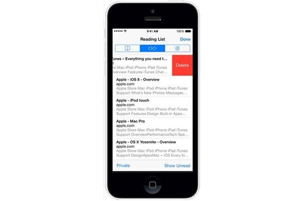 Bạn bấm Reading List để xem lại trang đã lưu trên điện thoại iOS