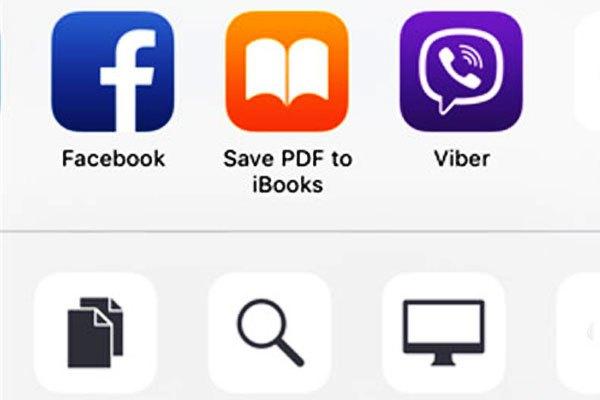 """Chọn """"Save PDF to iBooks"""" để lưu tập tin PDF trên điện thoại iOS"""