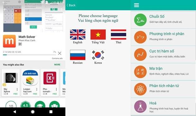 Ứng dụng điện thoại Math Solver hỗ trợ đến 5 ngôn ngữ và hàng ngàn bài toán khác nhau