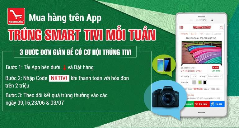 Mua hàng trên app - trúng smart Tivi mỗi tuần