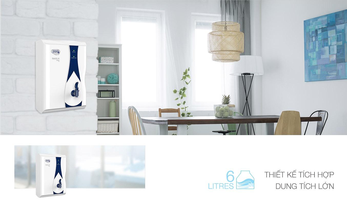 Máy lọc nước Unilever Pureit Ro Casa sở hữu thiết kế tích hợp, nhỏ gọn vfa tiện lợi khi sắp xếp vị trí đặt máy