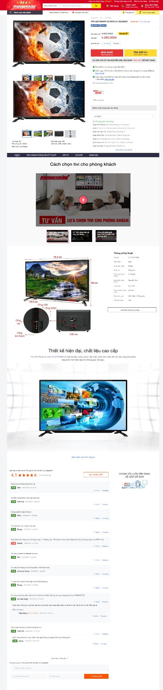 Khi chọn sản phẩm muốn xem, website sẽ hiển thị trang sản phẩm