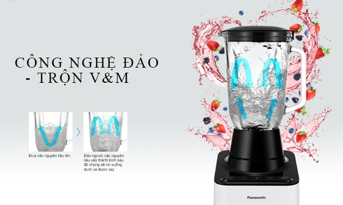 Máy xay sinh tố Panasonic MX-V300KRA với công nghệ đảo - trổn W&M giúp việc xay cắt hiệu quả hơn