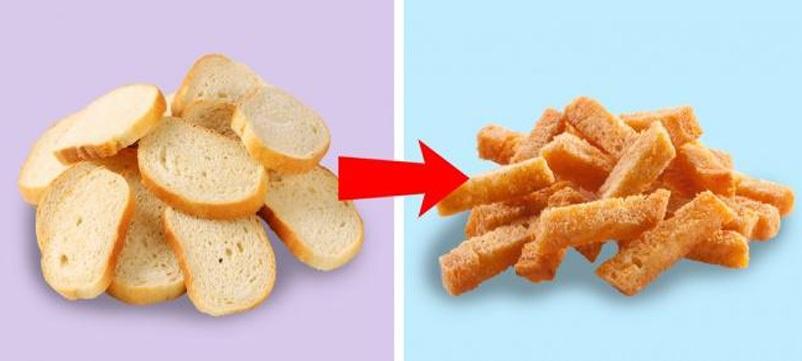 Với bánh mỳ cũ đã mềm, hãy nướng chúng lên cùng với chút mật ong hoặc bơ