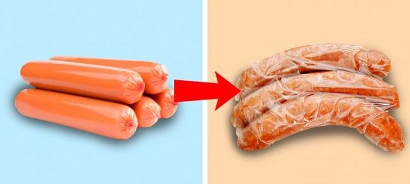 Đông đá xúc xích và thịt xông khói để bảo quản được lâu hơn, tránh lãng phí