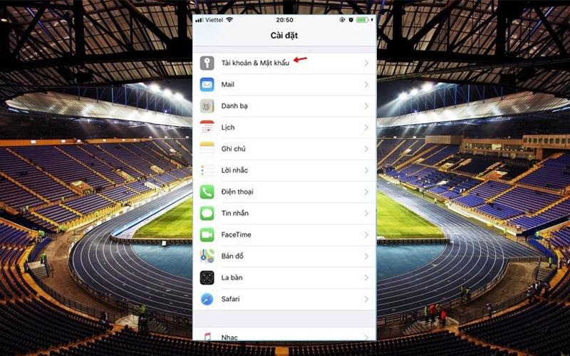 Khi muốn xóa bỏ lịch thi đấu World Cup 2018 khỏi điện thoại iPhone, bạn chỉ cần vào phần Cài đặt, chọn Tài khoản & Mật khẩu.
