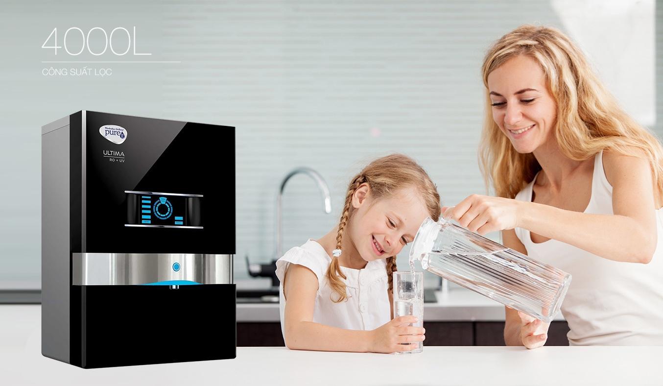 Máy lọc nước Unilever Pureit Ro Ultima có công suất lọc lớn đến 4000L