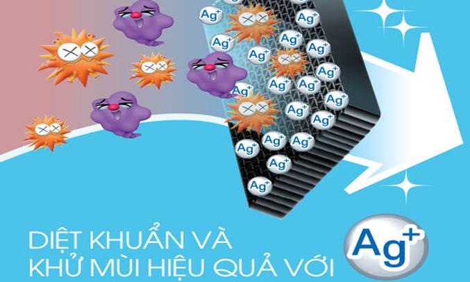 Tủ lạnh Sharp SJ-X176E-DSSsở hữu bộ lọc chứacác phân tử Ag+ giúp khử mùi hôi hiệu quả
