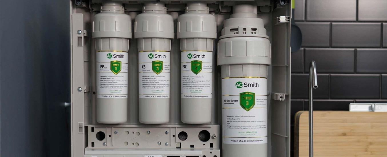 Máy lọc nước RO A.O.Smith 5 lõi K400 5 lõi lọc nước hiện đại
