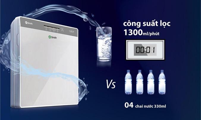 Máy lọc nước RO A.O.Smith 5 lõi K400 Công suất lọc cao lên đến 1300ml/phút
