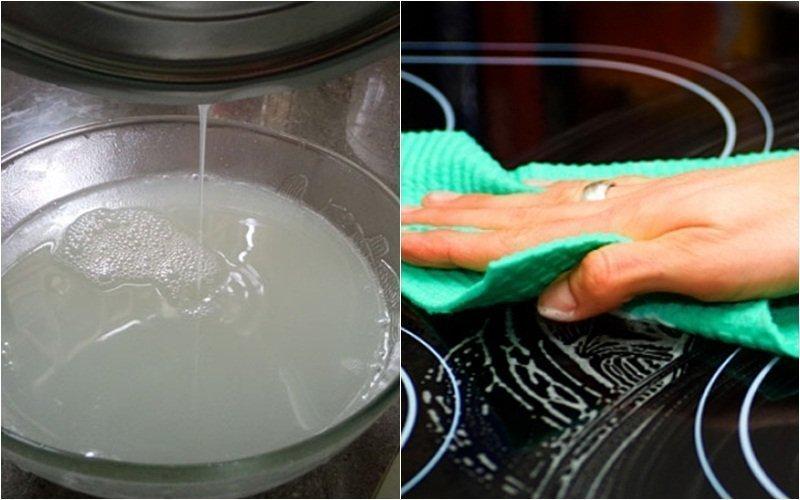 """Bí quyết """"xịn"""" làm sạch dầu bề mặt kính bếp với nước cơm sôi"""