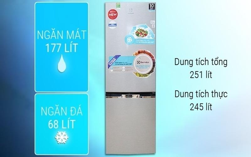 Tủ lạnh Electrolux EBB2600MG có dung tích lớn phù hợp gia đình nhiều người