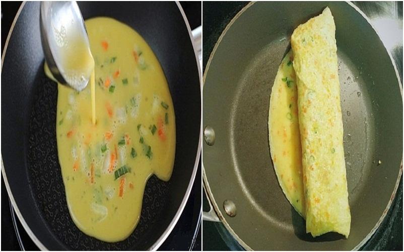 Tráng trứng trên chảo theo từng bước