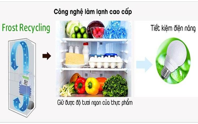 Công nghệ làm lạnh tối ưu Frost Recycling trên tủ lạnh side by side Hiatchi
