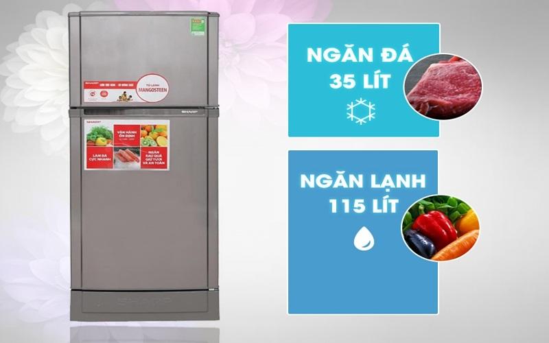 Tủ lạnh Sharp với dung tích vừa phải cho gia đình ít thành viên