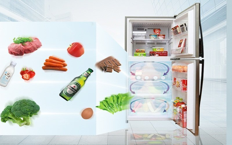 Công nghệ làm lạnh vòng cung đảm bảo đủ hơi lạnh bảo quản thực phẩm ở trạng thái tốt nhất