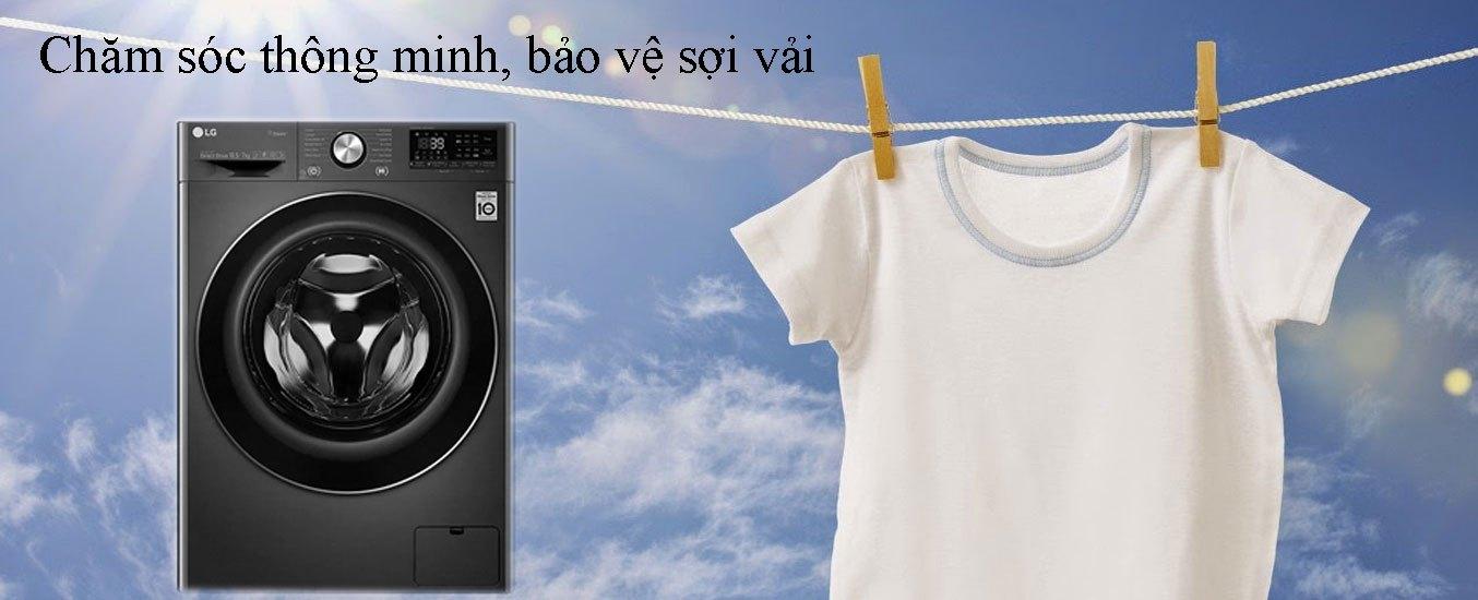 Máy giặt sấy LG Inverter 10.5 kg FV1450H2B chăm sóc thông minh, bảo vệ sợi vải