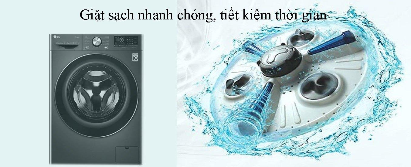 Máy giặt sấy LG Inverter 10.5 kg FV1450H2B giặt sạch nhanh chóng, tiết kiệm thời gian
