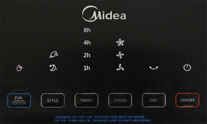 Quạt điều hòa Midea AC200-17JR Bảng điều khiển hiển thị rõ ràng, dễ dàng sử dụng
