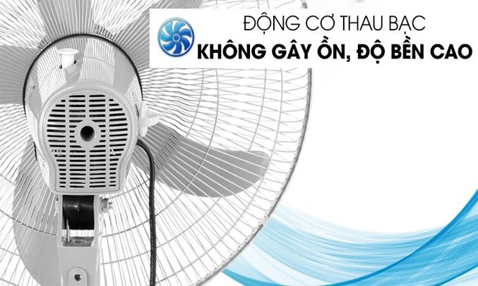 Quạt đứng Asia D16026 Xám Động cơ bạc thau hoạt động êm ái, bền bỉ