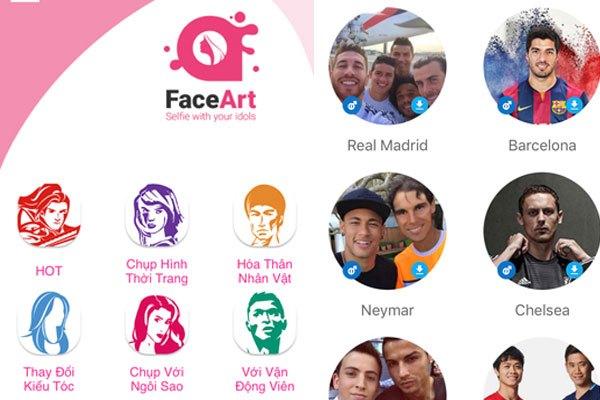 Cách dùng ứng dụng FaceArt trên điện thoại để thực hiện chụp ảnh với người nổi tiếng