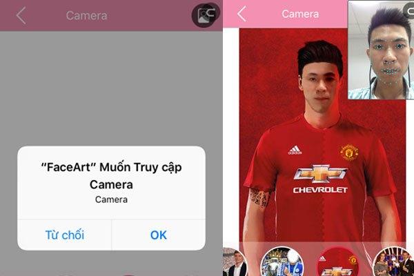 Ứng dụng sẽ yêu cầu được quyền truy cập và sử dụng camera trên điện thoại của bạn, nhấn OK để đồng ý.