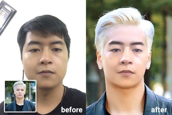 """Đổi kiểu tóc trong """"1 nốt nhạc"""" với ứng dụng FaceArt trên điện thoại."""