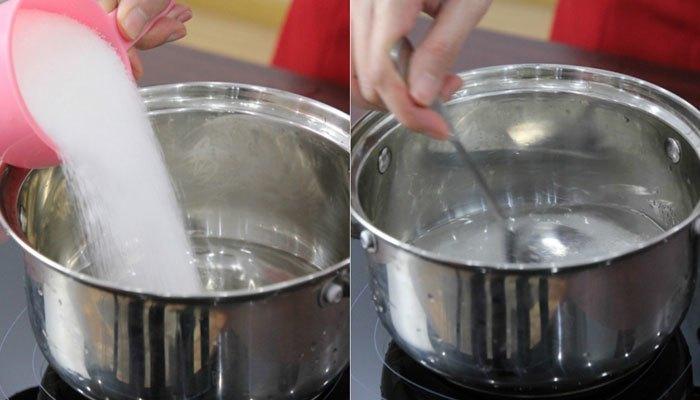 Nước đường trên bếp điện cần khuấy đều tay để tan