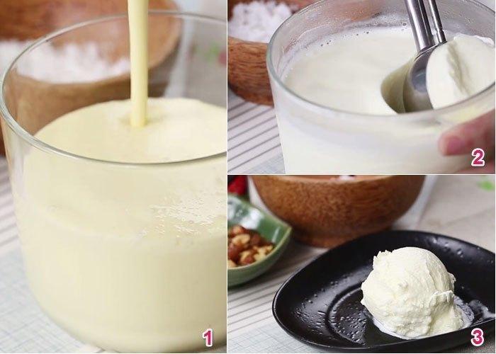 Bỏ hỗn hợp vào tủ lạnh để chúng đông lại thành kem dừa