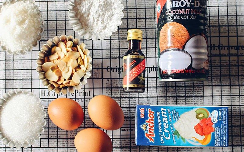 Nguyên liệu cho món kem dừa thơm ngon